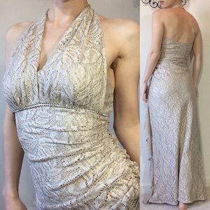 Cache Dresses - Cache Gold Lace Stretchy Dress Gown Size 2